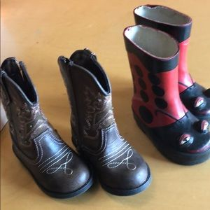Other - Lady bug rain boots & pink brown cowboy boots